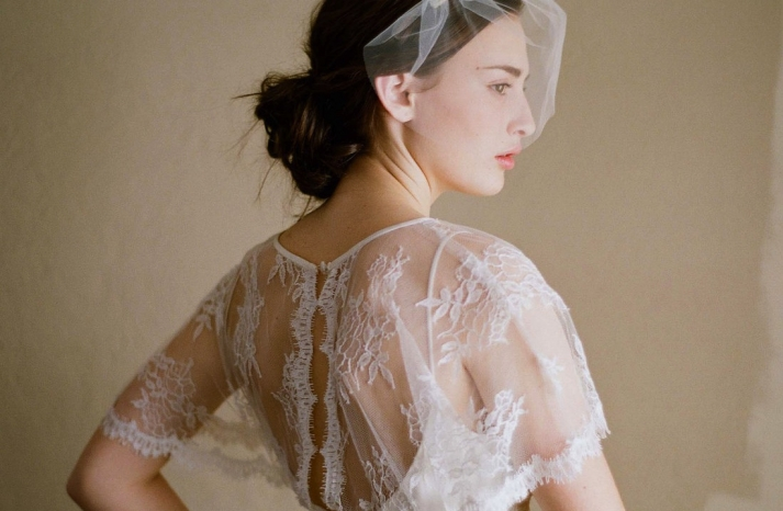 romantic lace cape sheer with floral applique tulle bridal veil