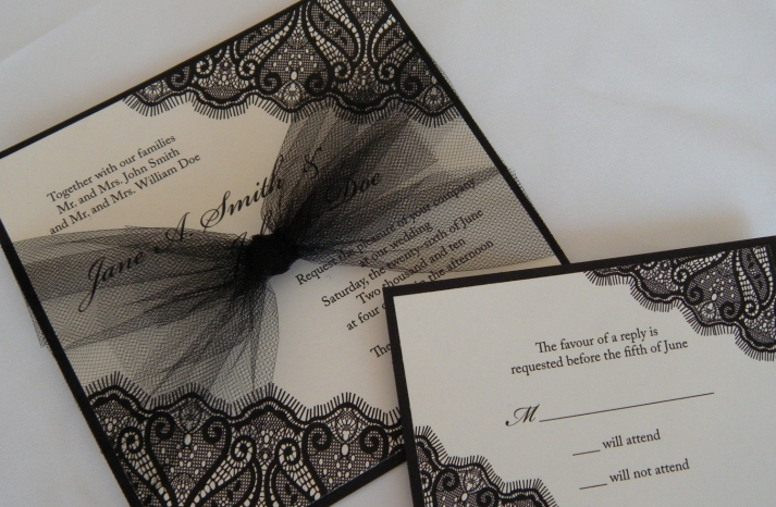 elegant black ivory wedding invitation tulle bow