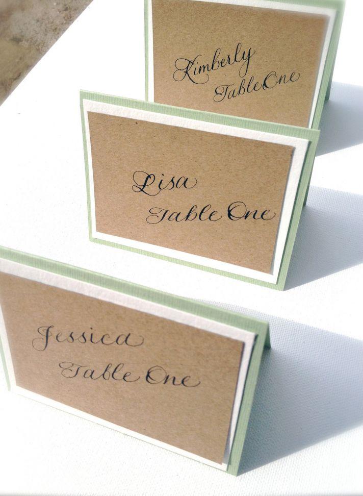 handmade wedding escort cards Etsy wedding stationery natural with calligraphy