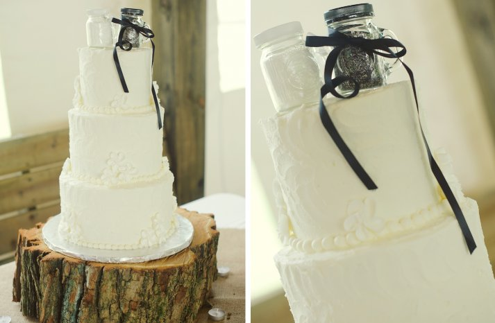 elegant rustic wedding classic ivory wedding cake with cute cake topper