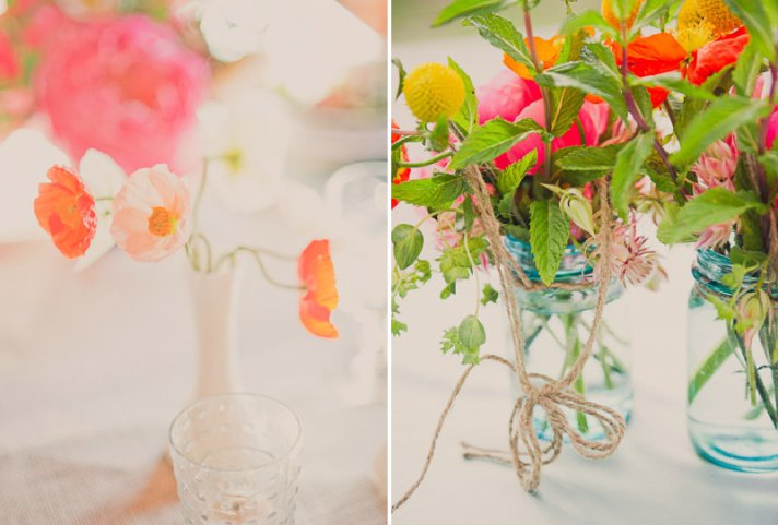 watermelon wedding colors paired with brights tangerine green