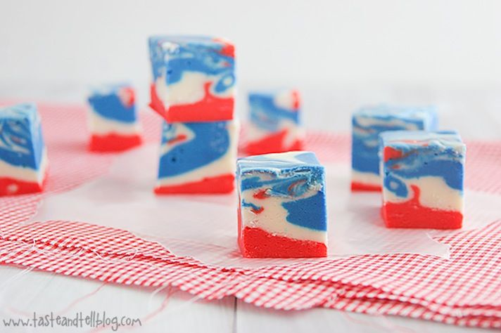 red white blue wedding favors 4th of july fudge