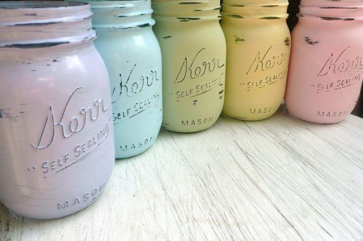 pastel painted mason jars for vintage weddings
