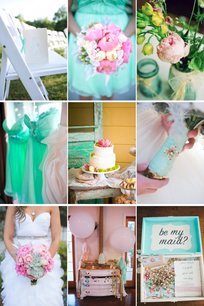 Dreamy Wedding Color Palette Peony Pink Cool Aqua Blue