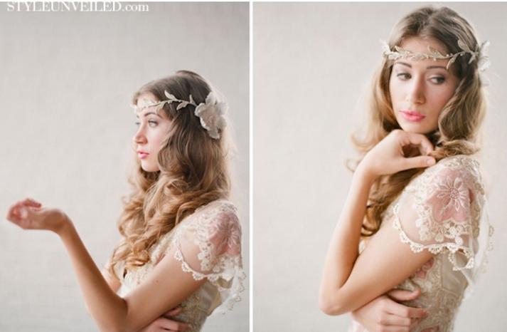romantic wedding hairstyles bohemian bride in Claire Pettibone 3