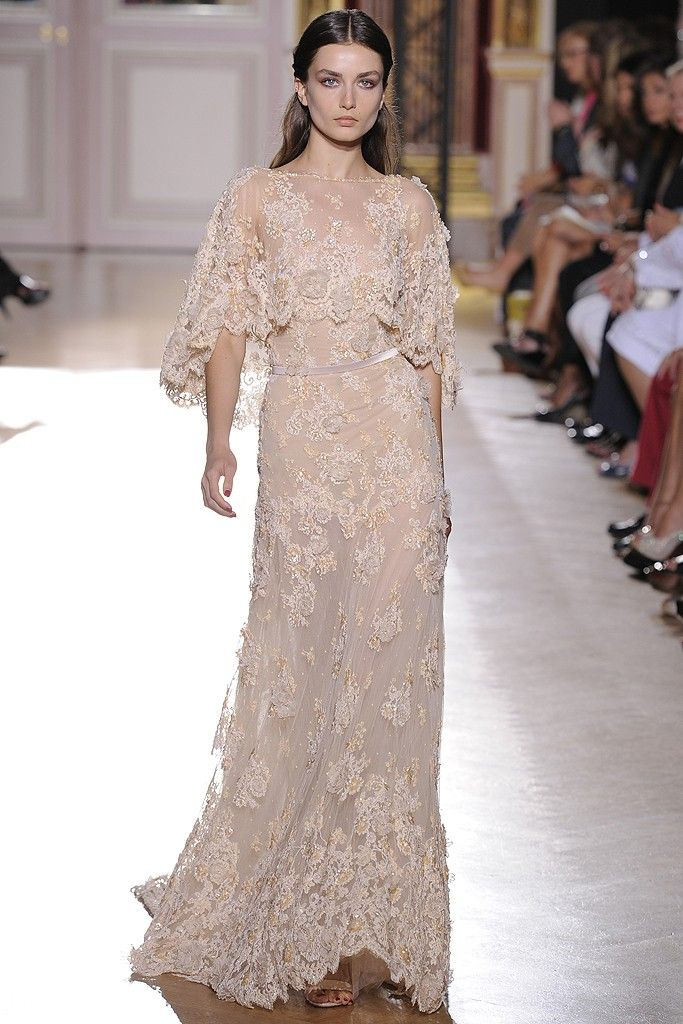 runway to white aisle wedding dress inspiration fall 2012 zuhair murad beige lace