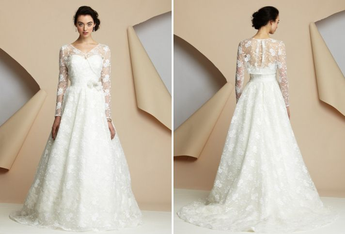 15 wedding dresses perfect for a classic cathedral wedding 3 alyne bridal floral embellished sleeves