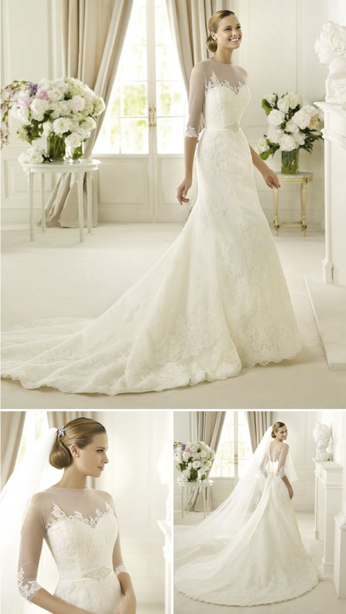 15 wedding dresses perfect for church weddings Pronovias fit and flare illusion sleeves