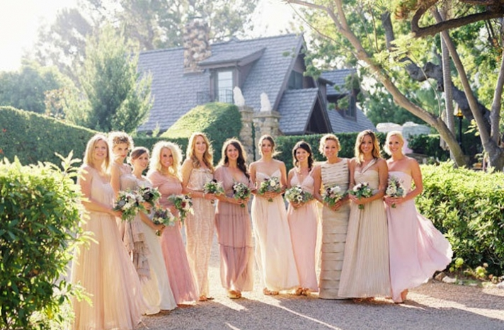 mix and match bridesmaids neutrals rosy wedding colors