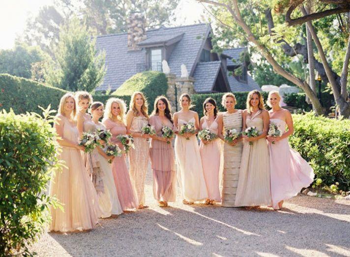 mix and match bridesmaids neutrals rosy wedding colors