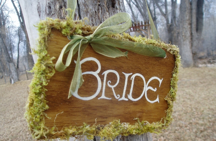 personalized wedding details ceremony reception signs on Etsy bride with moss