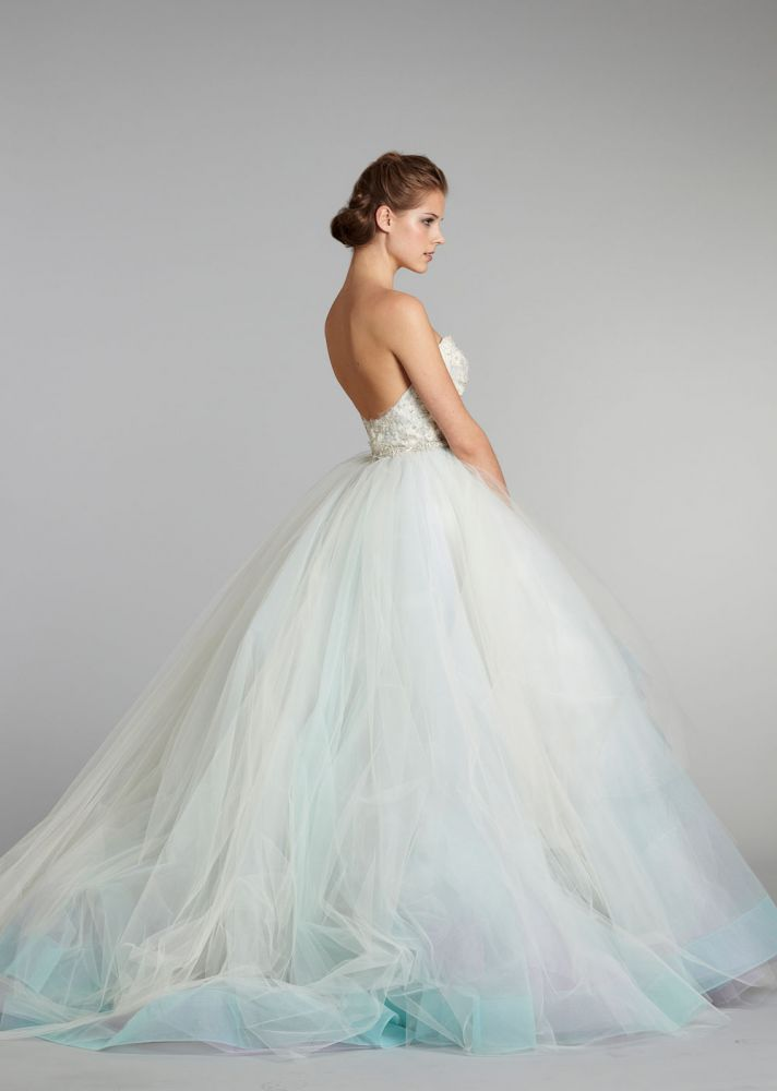 11 exquisite wedding dresses from lazaro onewed for Wedding dresses in color