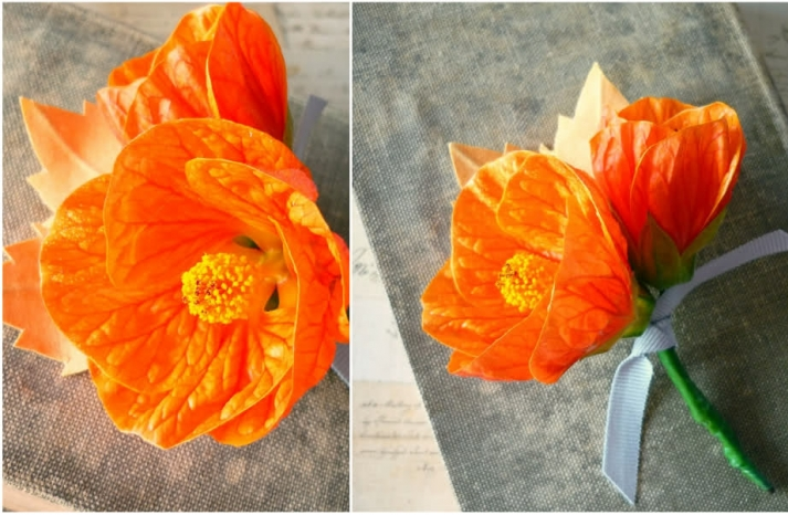 summer wedding DIY projects creative wedding ideas orange boutonniere