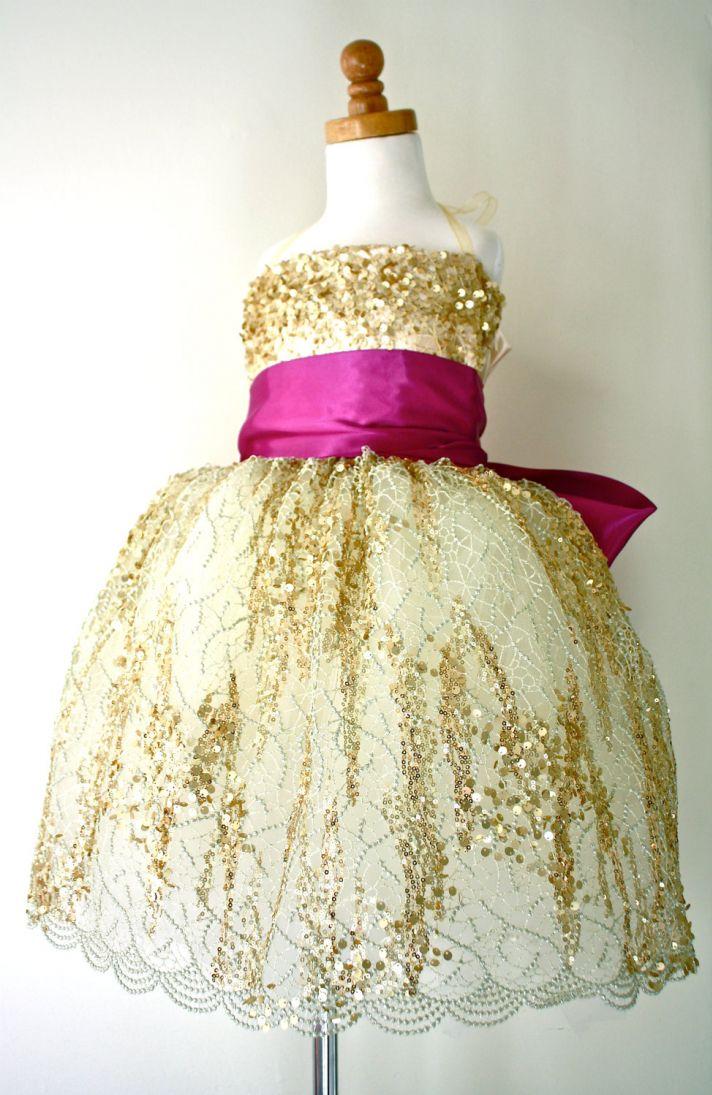 gold magenta flower girl dress