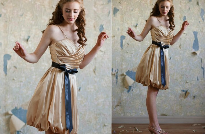 Ruche bridesmaids dresses stylish bridal party attire shimmery champagne