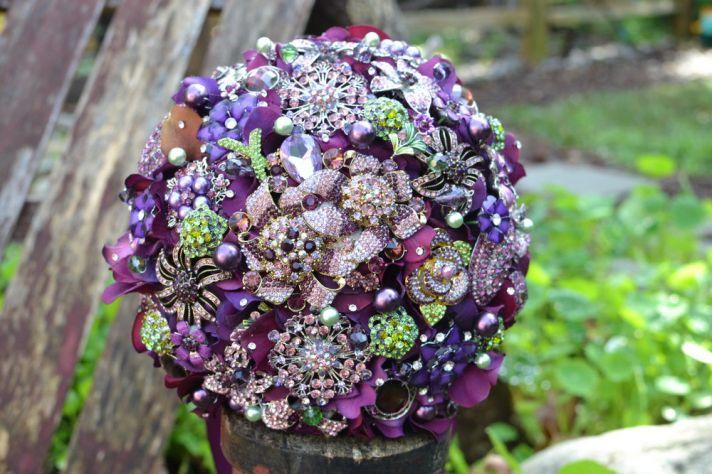 brooch bridal bouquet purple green vintage