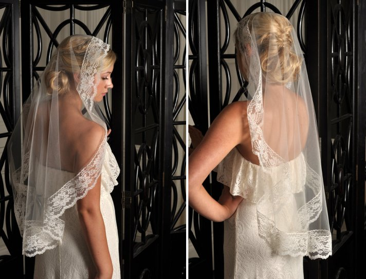 romantic bridal accessories wedding veils mantilla style 4