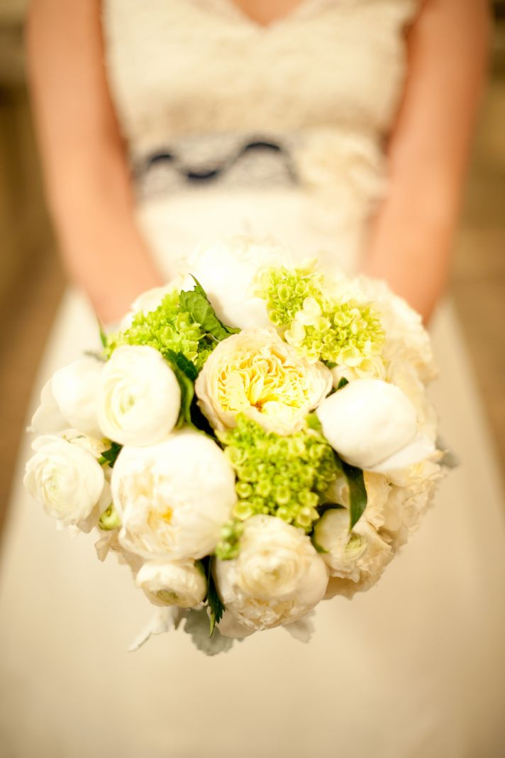 Ivory and Green Peony bridal bouquet
