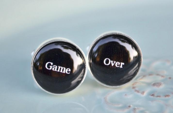 game over groom cufflinks