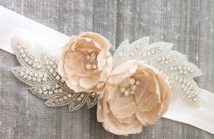 peach wedding pretties for romantic weddings bridal sash 2