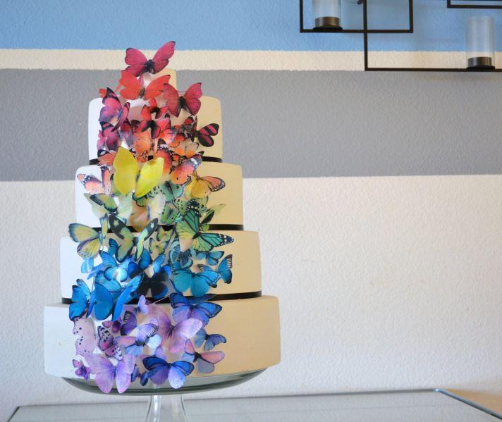 rainbow wedding inspiration edible butterflies on wedding cake