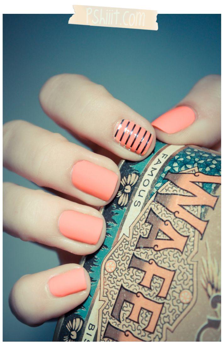 coral silver wedding manicure