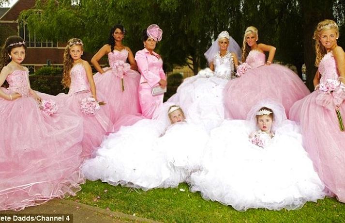 ugly bridesmaid dresses pink poufs