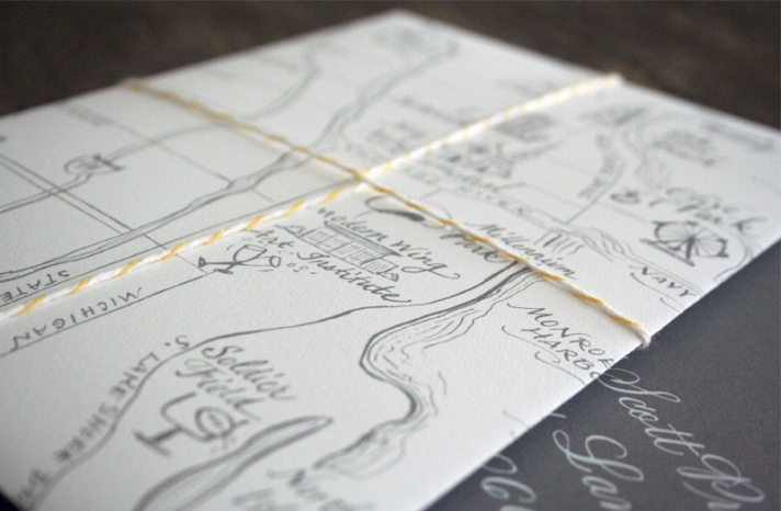 map inspired weddings travel themed wedding invitations and paper from Etsy ivory gray yellow elegant 1