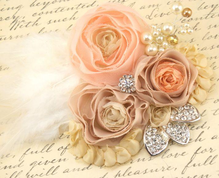 peaches and cream wedding color palette romantic weddings fascinator