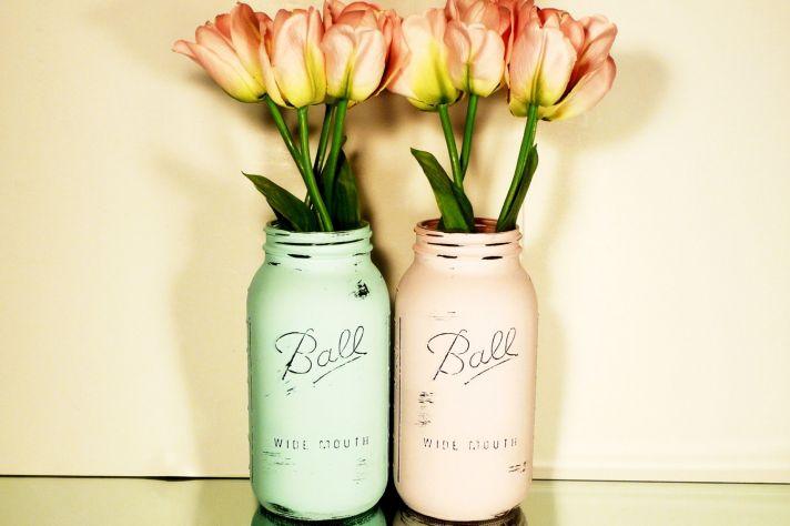 peaches and cream wedding color palette romantic weddings painted mason jars 2