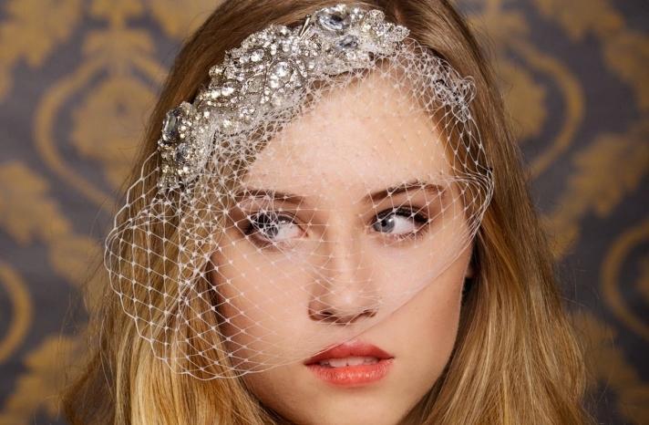 chic bridal headbands unique wedding hair accessories attached birdcage veil