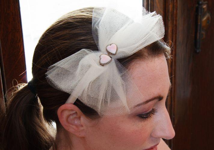 bridal headband tulle bow with hearts