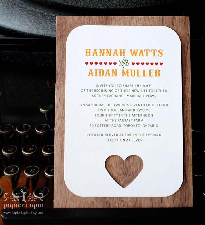 wood wedding invitation heart themed outdoorsy weddings
