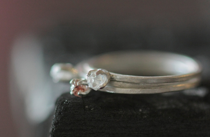 unique diamond engagement rings wedding jewelry with rough Herkimer stones 12