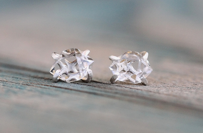 unique diamond engagement rings wedding jewelry with rough Herkimer stone 3