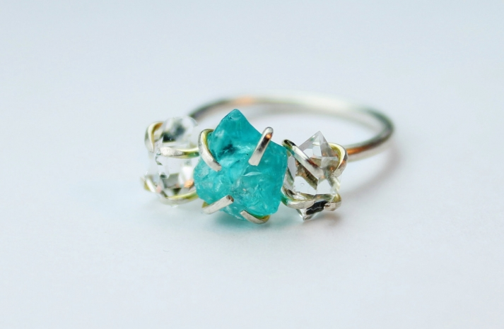 unique diamond engagement rings wedding jewelry with rough Herkimer stone blue stones