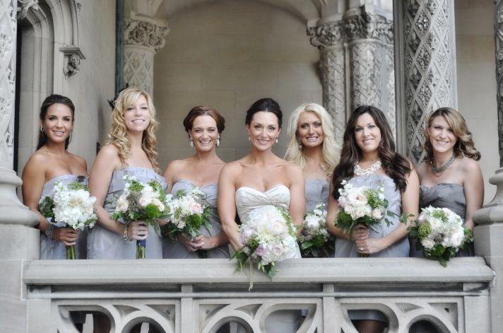 elegant real wedding North Carolina wedding photographers bride with bridesmaids