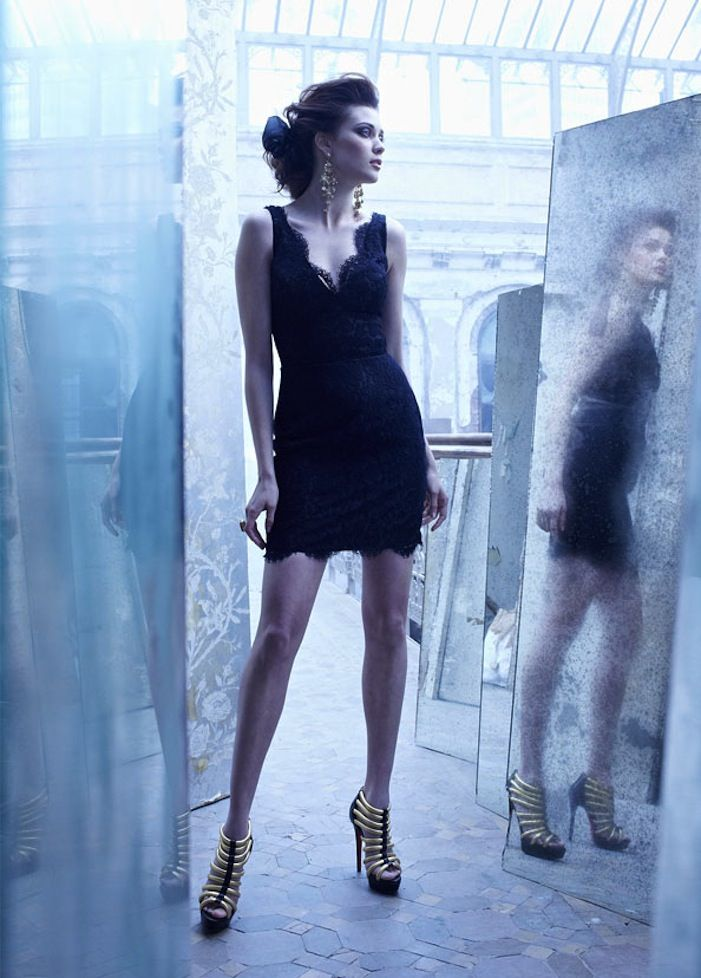 black bridesmaid dresses lace LBD by Lazaro