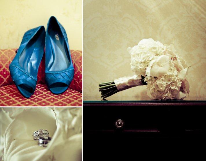 charming country club wedding in Georgia bridal bouquet blue wedding shoes