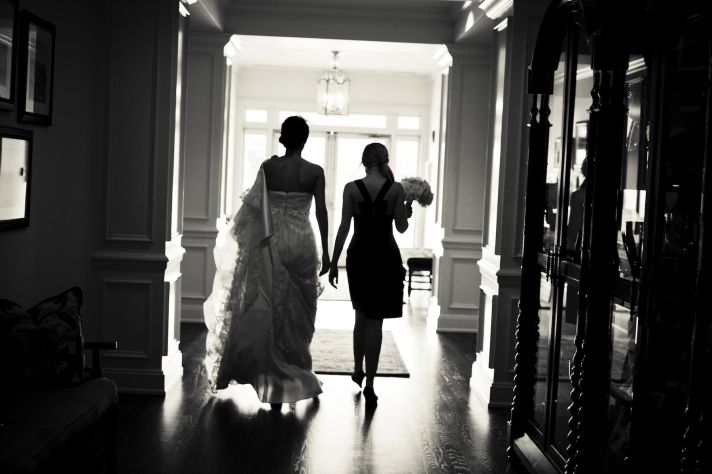 charming country club wedding bridesmaids embrace