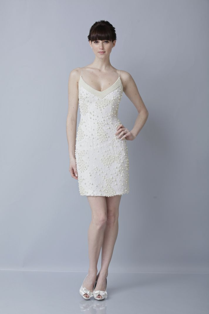 2013 wedding dress by Theia bridal gowns pearl embellished LWD
