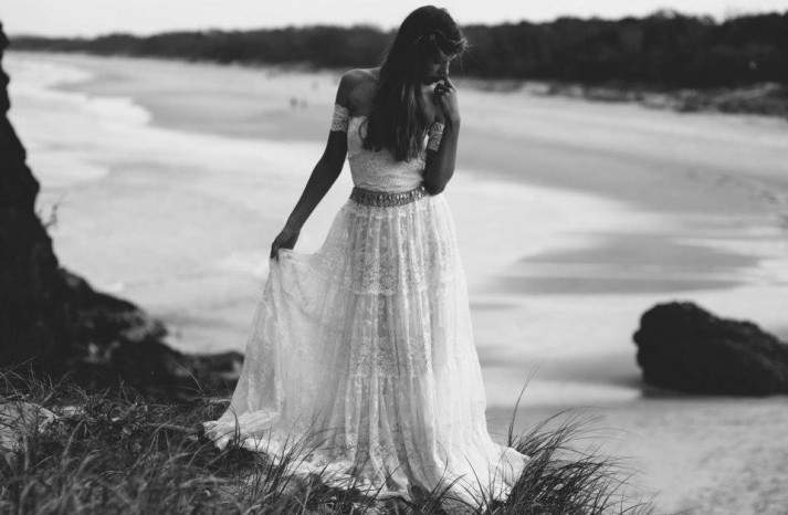 bohemian bride at a beach wedding bridal gown beauty inspiration 5