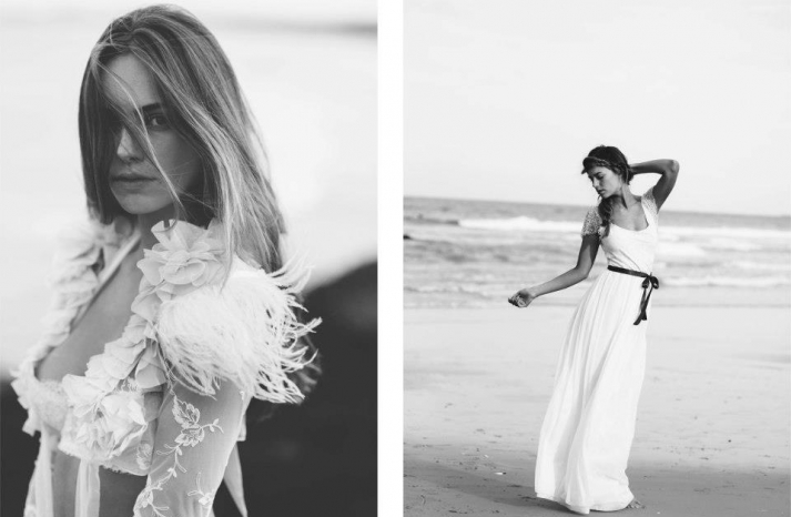 bohemian bride at a beach wedding bridal gown beauty inspiration 6