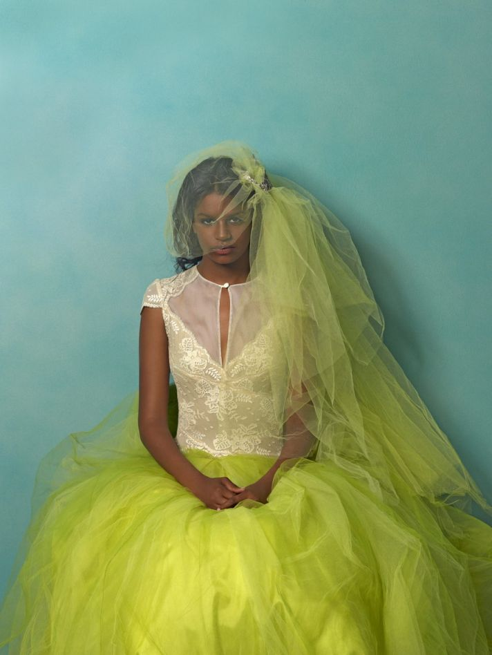 wedding dresses with pops of color lace with lime green tulle