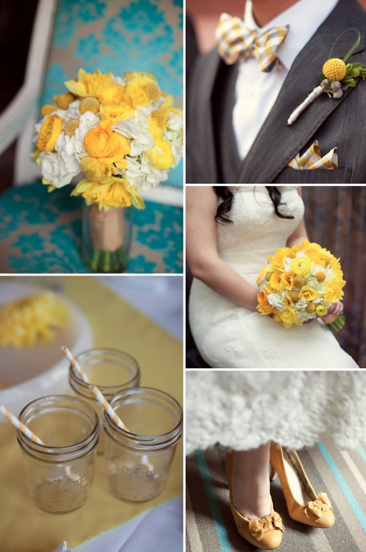 yelow beige taupe wedding color inspiration bridal bouquet bout decor details