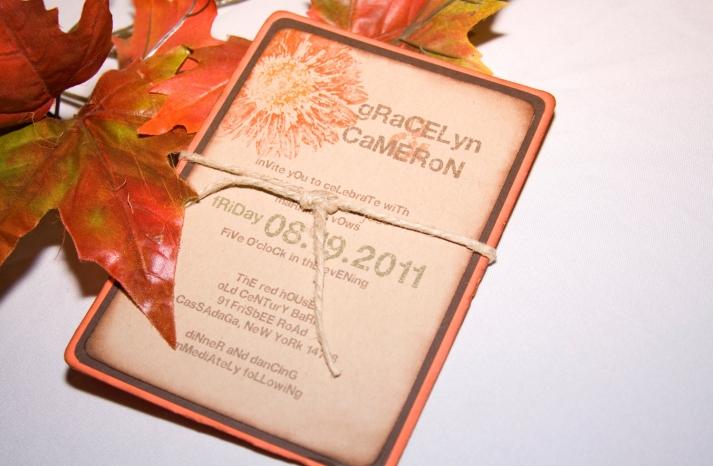 handmade wedding finds for fall weddings fall gerbera daisy invitation