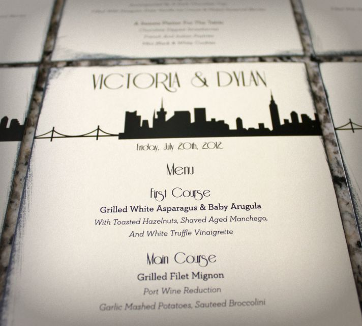 cream black wedding inspiration reception menu cards