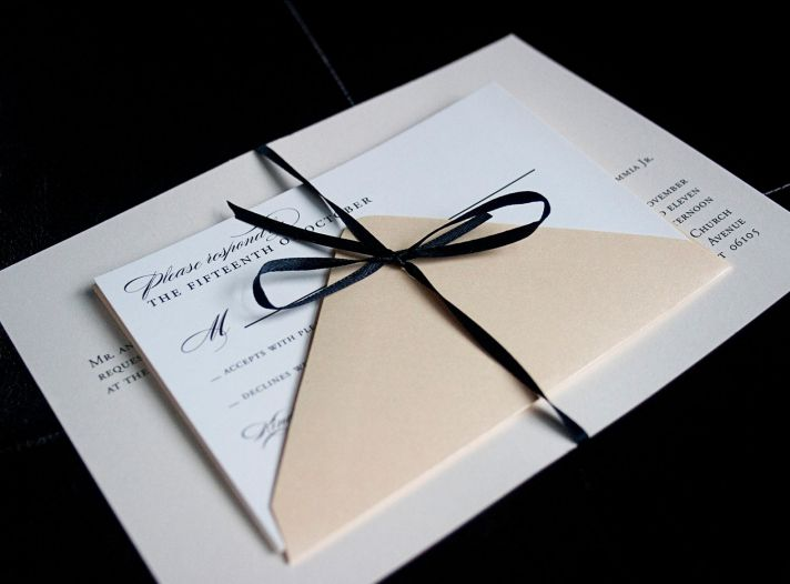 elegant black ivory cream wedding invitation