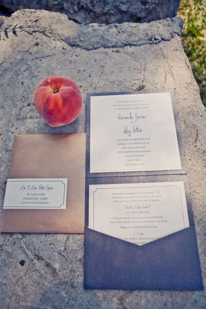 elegant real weddings lavender peach wedding colors invitation suite 2
