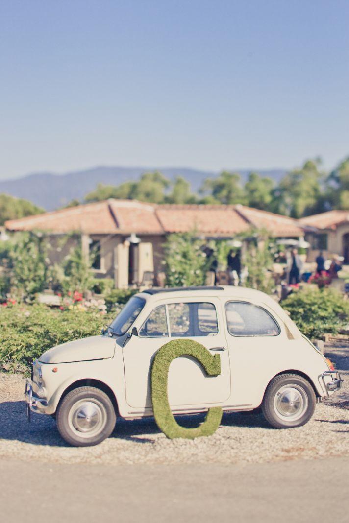 Elegant real weddings lavender peach wedding colors moss monogram vintage car